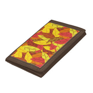 Autumn pattern colored warm leaves tri-fold wallets