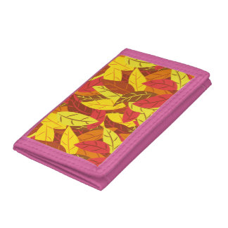 Autumn pattern colored warm leaves trifold wallet