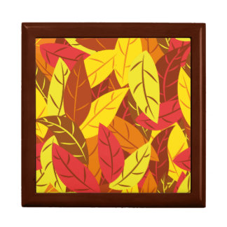 Autumn pattern colored warm leaves trinket boxes