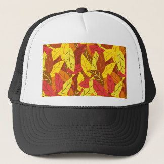 Autumn pattern colored warm leaves trucker hat