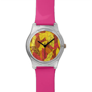 Autumn pattern colored warm leaves watch
