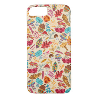 Autumn pattern with leaves, mushrooms, acorns iPhone 8/7 case