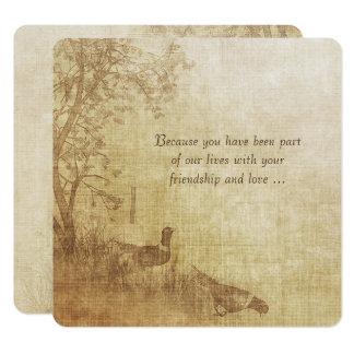 Autumn Pheasant Wedding Vow Renewal Card