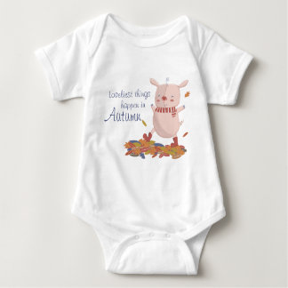 Autumn piggy baby bodysuit