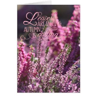Autumn-Pink Heather Flower Floral editable Text Card