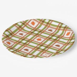 Autumn Plaid Paper Plate
