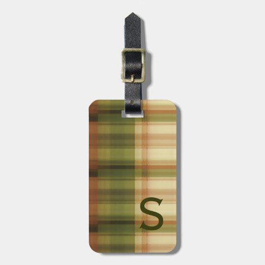 autumn plaid  pattern   with monogram bag tag