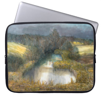 autumn pond laptop sleeve
