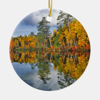 Autumn pond reflections, Maine Round Ceramic Ornament