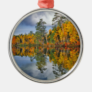 Autumn pond reflections, Maine Silver-Colored Round Ornament
