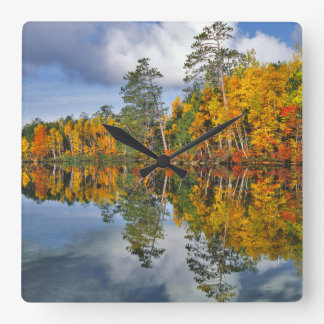 Autumn pond reflections, Maine Square Wall Clock