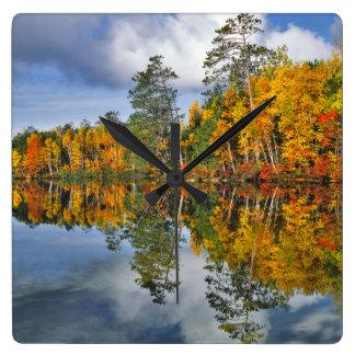 Autumn pond reflections, Maine Wallclock
