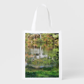 Autumn pond reusable grocery bags