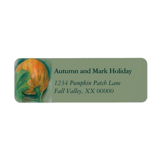 Autumn Pumpkin and Leaf Personalized Thanksgiving Return Address Label