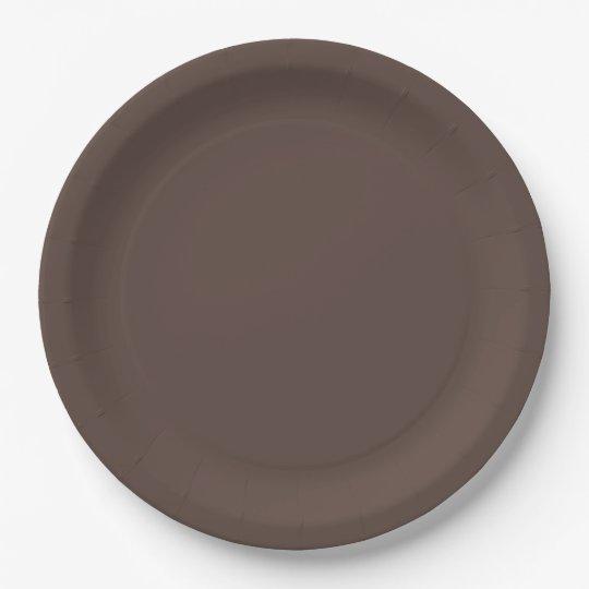 Autumn Pumpkin Colours Dark Brown Paper Plate
