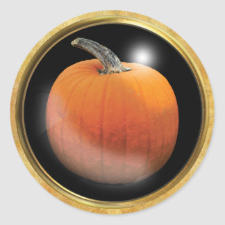 Autumn Pumpkin Orange Classic Round Sticker