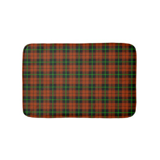 Autumn pumpkin orange green/black stripe plaid bath mat