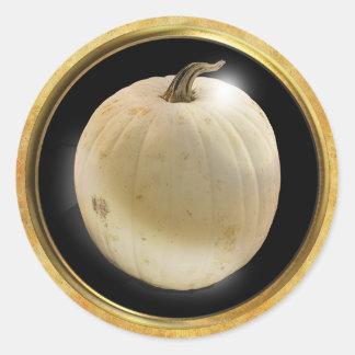 Autumn Pumpkin White Classic Round Sticker