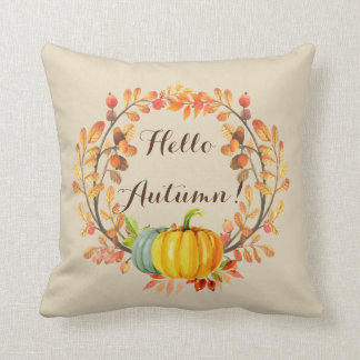 Autumn Pumpkin Wreath Throw Pillow