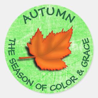 Autumn Quote Button Classic Round Sticker