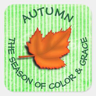 Autumn Quote Button Square Sticker