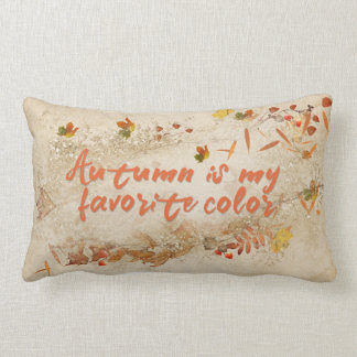 autumn quote with leaves lumbar pillow