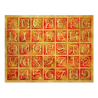 Autumn Red and Gold Alphabet & Numbers Postcard