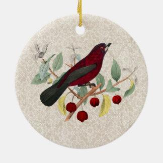autumn red bird vintage ceramic ornament