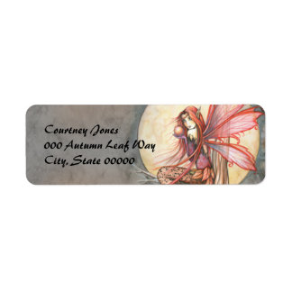 Autumn Red Fairy Fantasy Art Return Address Label
