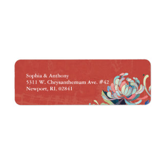 Autumn Red Floral Wedding Return Address