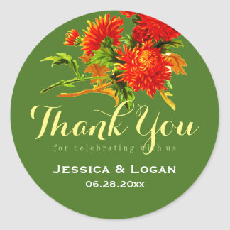 Autumn Red Flowers Thank You Wedding Stickers