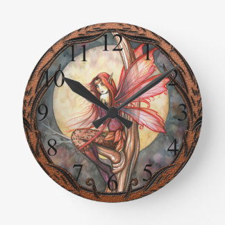 Autumn Red Gothic Autumn Fairy Clock