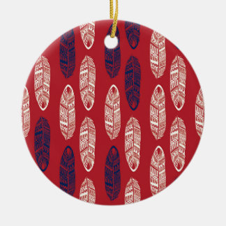 Autumn Red Leaves - Missing You Round Ceramic Ornament