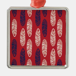 Autumn Red Leaves - Missing You Silver-Colored Square Ornament