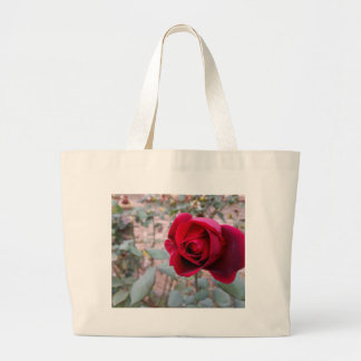 Autumn red rose large tote bag