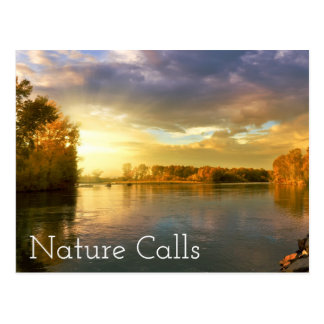 Autumn River Nature Calling Postcard