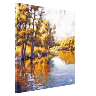 Autumn River Scenery Painting Canvas Print