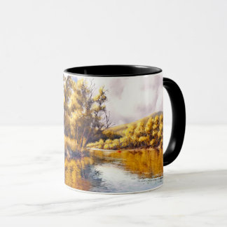Autumn River Scenery Painting Gift Mugs