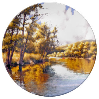 Autumn River Scenery Painting Porcelain Plate