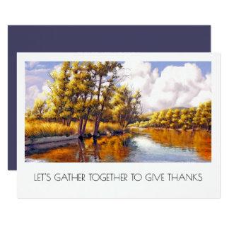 Autumn River Scenery Thanksgiving Dinner Invites