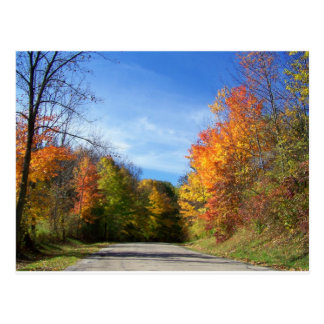 autumn road postcard