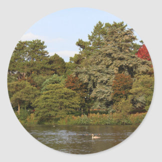 Autumn, Roath Park Lake, Cardiff Classic Round Sticker