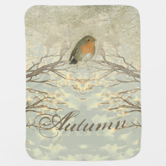 AUTUMN ROBIN Fall Branches Baby Blanket