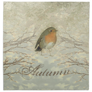AUTUMN ROBIN Fall Branches Napkin