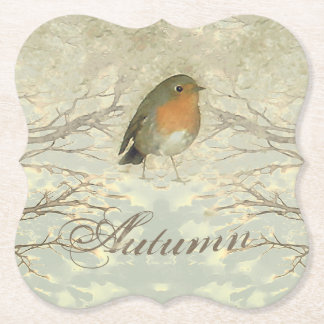 AUTUMN ROBIN Fall Branches Paper Coaster