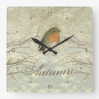 AUTUMN ROBIN Fall Branches Square Wall Clock