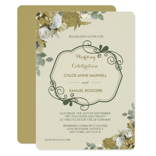 Autumn Roses in Gold and Teal Wedding Invitation