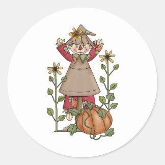 Autumn Scarecrows · Scarecrow 4 Round Sticker