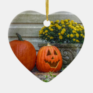 Autumn Scene Ceramic Heart Ornament