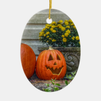 Autumn Scene Ceramic Oval Ornament